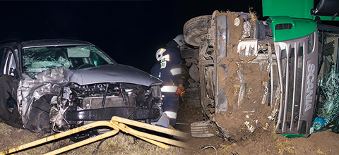 Ciężarówka na boku, ford na barierkach. Poważny wypadek w Ponikwi Małej (zdjęcia)